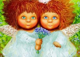 InSmile ® Malovaný obraz - dva andìlíèci