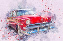 InSmile ® Malovaný obraz - èervené auto