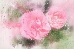 InSmile ® Malovaný obraz - rùžové kvìty  - zvìtšit obrázek