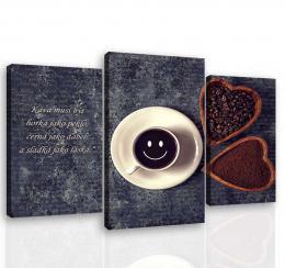 InSmile ® Tøídílný obraz káva s úsmìvem