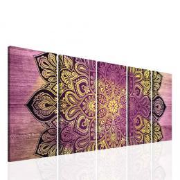 Malvis Obraz fialová mandala na døevì