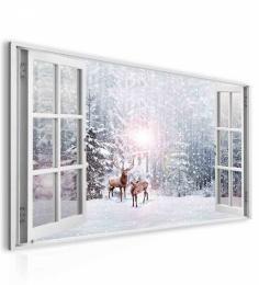 InSmile ® Obraz okno jeleni v zimì
