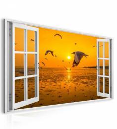 InSmile ® Obraz okno oranžový východ slunce