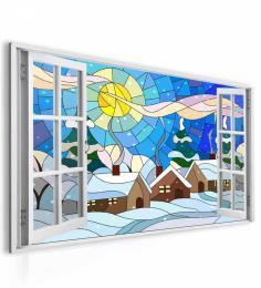 InSmile ® Obraz okno zimní vitráž