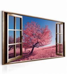 Malvis Obraz okno rùžový strom