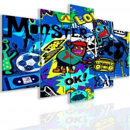InSmile ® Pìtidílný obraz bláznivé graffiti