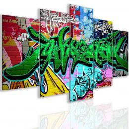 InSmile ® Pìtidílný obraz graffiti greenery