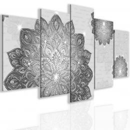 Malvis Pìtidílný obraz šedá mandala