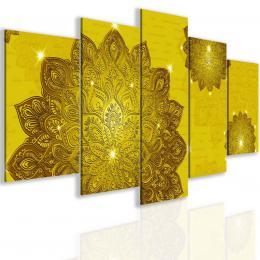 InSmile ® Pìtidílný obraz zlatá mandala Velikost  200x100 cm