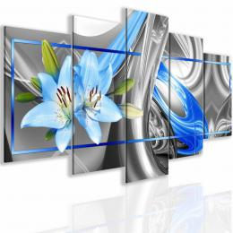 Malvis Obraz abstraktní lilie modrá
