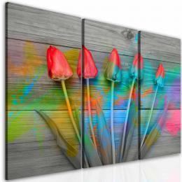 InSmile ® Tøídílný obraz tulipány na døevì