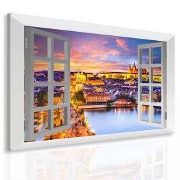 InSmile ® Obraz veèerní Praha za oknem