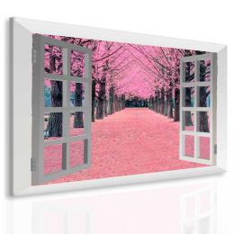 InSmile ® Obraz rùžová alej za oknem