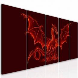 InSmile ® Pìtidílný obraz ohnivý drak  - zvìtšit obrázek