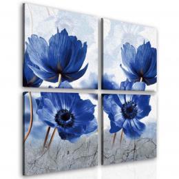 InSmile ® Ètyødílný obraz modrý mák
