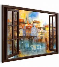 Malvis Obraz pražské panoráma za oknem