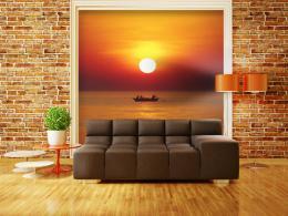 Murando DeLuxe Fototapeta - západ slunce s rybáøem