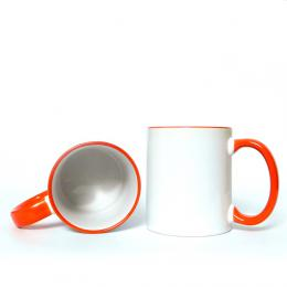 Hrnek bílý, Oranžový lem + ucho
