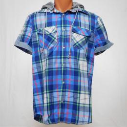 Modrá pánská košile s krátkým rukávem a odepínací kapucí - XL