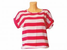 Dámské trièko - èervenobílý proužek L
