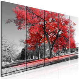 Pìtidílný obraz podzim v parku èervený II - 150x60 cm - Murando DeLuxe