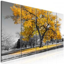 Pìtidílný obraz podzim v parku žlutý II - 125x50 cm - Murando DeLuxe
