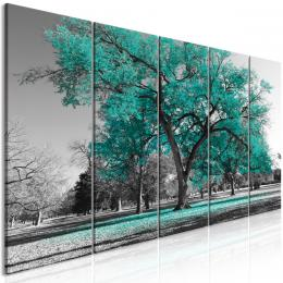 Pìtidílný obraz podzim v parku zelený II - 150x60 cm - Murando DeLuxe