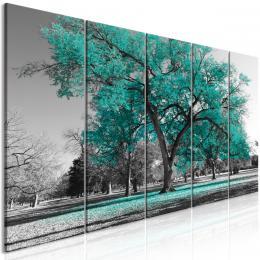 Pìtidílný obraz podzim v parku zelený II - 200x80 cm - Murando DeLuxe