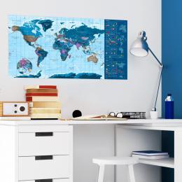 Stírací modrá mapa II - 100x50 cm - Murando DeLuxe