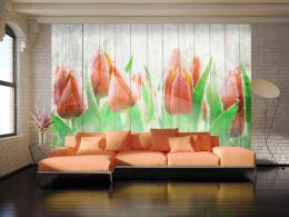 Murando DeLuxe Tapeta èervené tulipány na døevì