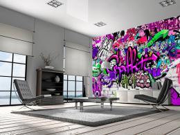 Murando DeLuxe Fialové graffiti Rozmìry (š x v) a Typ  300x210 cm - vliesové