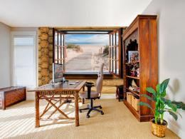 Murando DeLuxe 3D tapeta pláž za oknem