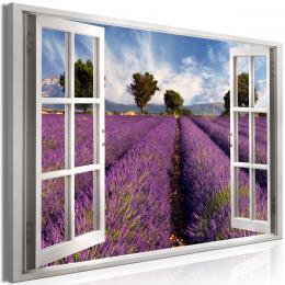Obraz okno levandulové pole - 90x60 cm - Murando DeLuxe