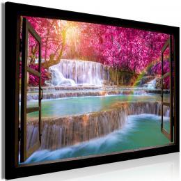 Obraz rùžové stromy a vodopád - 90x60 cm - Murando DeLuxe