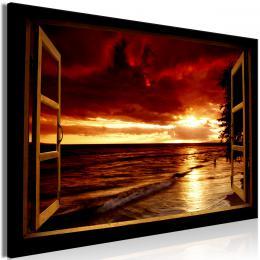 Obraz okno veèerní pláž - 120x80 cm - Murando DeLuxe