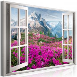 Obraz okno na alpské rododendrony - 120x80 cm - Murando DeLuxe