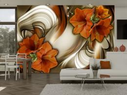 Murando DeLuxe Tapeta Motýlí tanec v oranžové