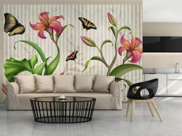 Murando DeLuxe Tapeta motýli na liliích II
