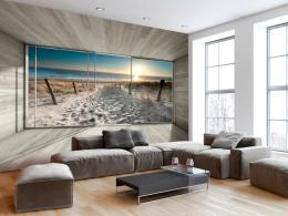 Murando DeLuxe Fototapeta okna s výhledem na pláž
