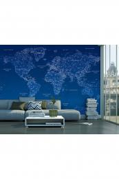 Murando DeLuxe Tapeta geometrická mapa - modrá  - zvìtšit obrázek