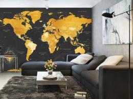Murando DeLuxe Tapeta mapa svìta - zlatá  - zvìtšit obrázek