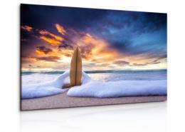 InSmile ® Obraz Surf v písku s malebnou oblohou