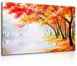 InSmile ® Obraz malebný podzimní les u jezera