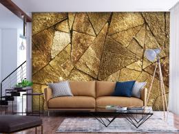 Murando DeLuxe Tapeta kamenná dlažba - zlatá