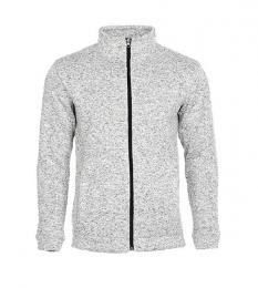 414 Pletená fleece mikina pánská Light Grey Melange|L