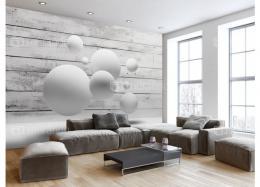 Levitující bílé koule - XXL - (ŠxV) 350 x 245 cm - Murando DeLuxe