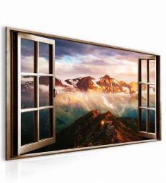 Malvis Obraz okno rakouské Alpy hnìdé