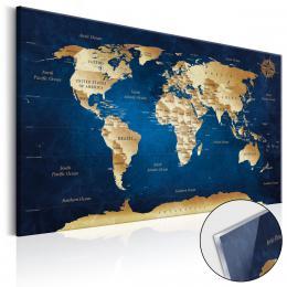Murando DeLuxe Obraz Mapa svìta na skle