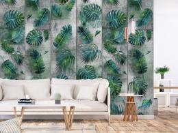 Murando DeLuxe Listy na betonì - tmavì zelené Klasické tapety  49x1000 cm - samolepicí