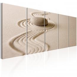Murando DeLuxe Pìtidílné obrazy - kámen v písku